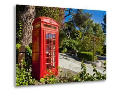 Red Telephone Box, Alameda Gardens, Gibraltar, Europe-Giles Bracher-Metal Print