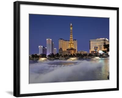 Bellagio Fountains Perform in Front of the Eiffel Tower Replica, Las Vegas, Nevada, USA-Gavin Hellier-Framed Photographic Print