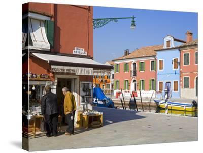 Store on Corte Novello, Burano Island, Venice, Veneto, Italy, Europe-Richard Cummins-Stretched Canvas Print