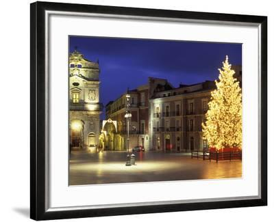 Duomo Square at Christmas, Ortygia, Siracusa, Sicily, Italy, Europe-Vincenzo Lombardo-Framed Photographic Print