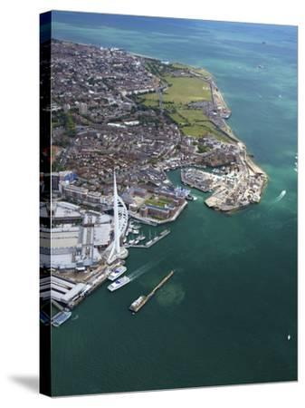 Aerial View of the Spinnaker Tower and Gunwharf Quays, Portsmouth, Solent, Hampshire, England, UK-Peter Barritt-Stretched Canvas Print