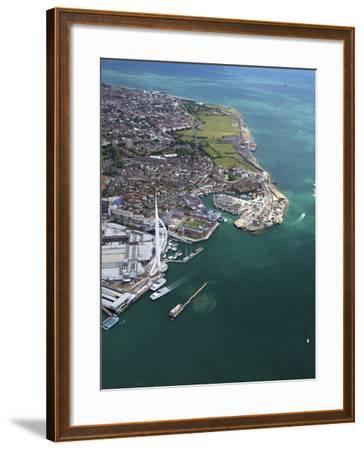 Aerial View of the Spinnaker Tower and Gunwharf Quays, Portsmouth, Solent, Hampshire, England, UK-Peter Barritt-Framed Photographic Print
