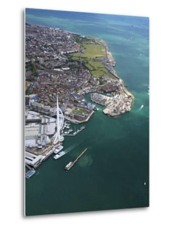 Aerial View of the Spinnaker Tower and Gunwharf Quays, Portsmouth, Solent, Hampshire, England, UK-Peter Barritt-Metal Print