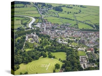 Aerial View of Arundel Castle, Cricket Ground and Cathedral, Arundel, West Sussex, England, UK-Peter Barritt-Stretched Canvas Print