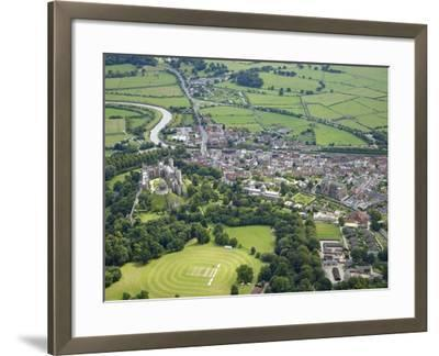 Aerial View of Arundel Castle, Cricket Ground and Cathedral, Arundel, West Sussex, England, UK-Peter Barritt-Framed Photographic Print