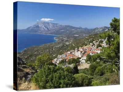View to Mount Kerketeas and South West Coast, Spatharaioi, Samos, Aegean Islands, Greece-Stuart Black-Stretched Canvas Print