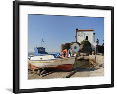Fishing Boat Stella on Ramp Near Small Chapel at Skala Sikaminia, Lesbos (Lesvos), Greece-Nick Upton-Framed Photographic Print