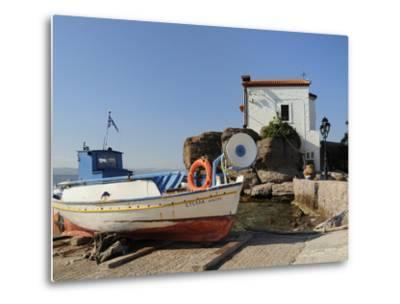 Fishing Boat Stella on Ramp Near Small Chapel at Skala Sikaminia, Lesbos (Lesvos), Greece-Nick Upton-Metal Print