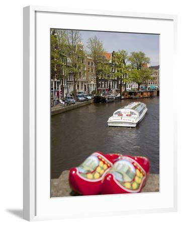 Souvenir Clogs and Canal, Amsterdam, Holland, Europe-Frank Fell-Framed Photographic Print