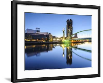 Millennium Bridge and Lowry Centre at Dawn, Salford Quays, Manchester, Greater Manchester, England-Chris Hepburn-Framed Photographic Print