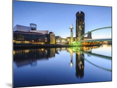 Millennium Bridge and Lowry Centre at Dawn, Salford Quays, Manchester, Greater Manchester, England-Chris Hepburn-Mounted Photographic Print