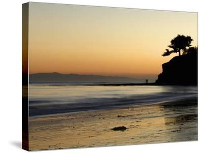 Lovers Silhouette at Sunset on the Ocean, Santa Barbara, California, USA, North America-Antonio Busiello-Stretched Canvas Print