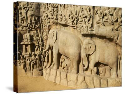 Arjuna's Penance Granite Carvings, Mamallapuram (Mahabalipuram), UNESCO World Heritage Site, India-Tuul-Stretched Canvas Print