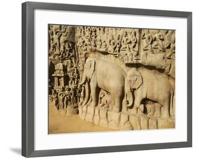 Arjuna's Penance Granite Carvings, Mamallapuram (Mahabalipuram), UNESCO World Heritage Site, India-Tuul-Framed Photographic Print