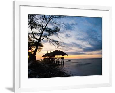 Restaurant on the Beach at Sunset, Gili Trawangan, Gili Islands, Indonesia, Southeast Asia, Asia-Matthew Williams-Ellis-Framed Photographic Print