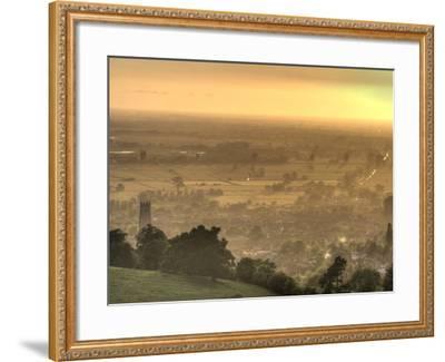 View of Glastonbury During Sunset from Glastonbury Tor, Somerset, England, United Kingdom, Europe-Sara Erith-Framed Photographic Print