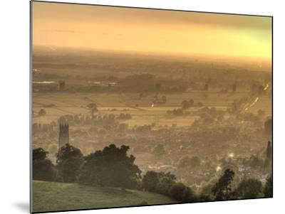 View of Glastonbury During Sunset from Glastonbury Tor, Somerset, England, United Kingdom, Europe-Sara Erith-Mounted Photographic Print