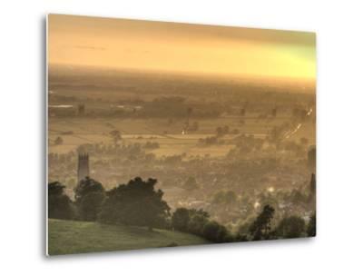 View of Glastonbury During Sunset from Glastonbury Tor, Somerset, England, United Kingdom, Europe-Sara Erith-Metal Print