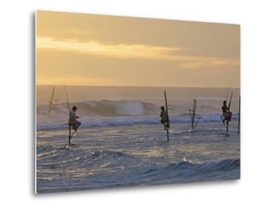 Stilt Fishermen at Weligama, South Coast, Sri Lanka, Asia-Peter Barritt-Metal Print