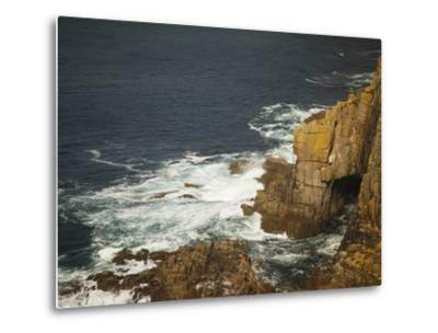 Sea Arch and Stacked Rocks at Land's End, Cornwall, England, United Kingdom, Europe-Ian Egner-Metal Print
