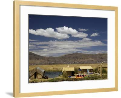 Floating Islands of Uros People, Traditional Reed Boats and Reed Houses, Lake Titicaca, Peru-Simon Montgomery-Framed Photographic Print