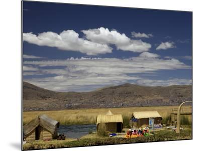 Floating Islands of Uros People, Traditional Reed Boats and Reed Houses, Lake Titicaca, Peru-Simon Montgomery-Mounted Photographic Print