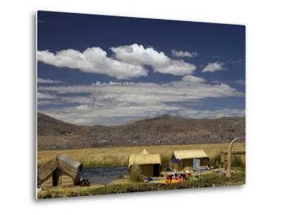Floating Islands of Uros People, Traditional Reed Boats and Reed Houses, Lake Titicaca, Peru-Simon Montgomery-Metal Print