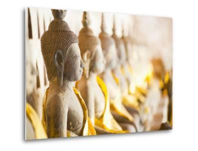 Buddhas at Wat Si Saket, the Oldest Temple in Vientiane, Laos, Indochina, Southeast Asia, Asia-Matthew Williams-Ellis-Metal Print