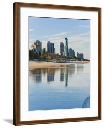 Reflections of High Rise Buildings at Surfers Paradise Beach, Gold Coast, Queensland, Australia-Matthew Williams-Ellis-Framed Photographic Print