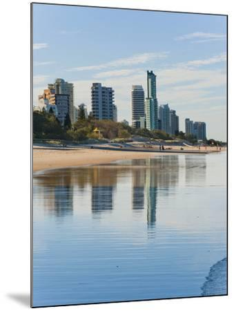 Reflections of High Rise Buildings at Surfers Paradise Beach, Gold Coast, Queensland, Australia-Matthew Williams-Ellis-Mounted Photographic Print