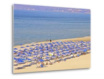 Beach and Sunshades on Beach at Giorgioupolis, Crete, Greek Islands, Greece, Europe-Guy Thouvenin-Metal Print