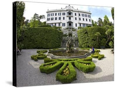 Villa Carlotta and Gardens in Spring Sunshine, Tremezzo, Lake Como, Lombardy, Northern Italy-Peter Barritt-Stretched Canvas Print