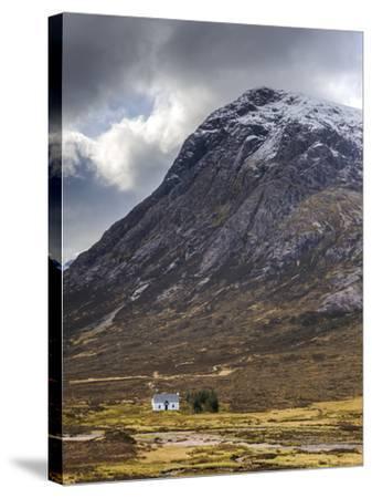 Single Small Cottage and Buachaille Etive Mor, Rannoch Moor, Glencoe, Highland Region, Scotland-Chris Hepburn-Stretched Canvas Print