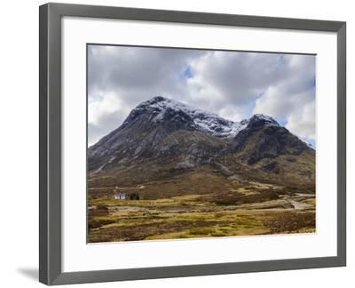 Single Small Cottage and Buachaille Etive Mor, Rannoch Moor, Glencoe, Highland Region, Scotland-Chris Hepburn-Framed Photographic Print