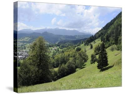 Overview of Podhom Village Near Bled, Julian Alps, Slovenia, Slovenian, Europe, European-Nick Upton-Stretched Canvas Print