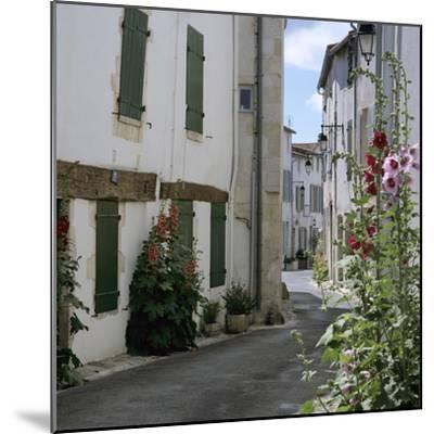 Typical Street Scene with Hollyhocks, St. Martin, Ile de Re, Poitou-Charentes, France, Europe-Stuart Black-Mounted Photographic Print