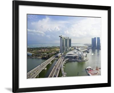 The Helix Bridge and Marina Bay Sands Singapore, Marina Bay, Singapore, Southeast Asia, Asia-Gavin Hellier-Framed Photographic Print