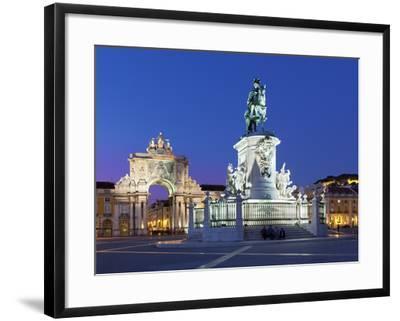 Praca Do Comercio with Equestrian Statue of Dom Jose and Arco Da Rua Augusta, Lisbon, Portugal-Stuart Black-Framed Photographic Print