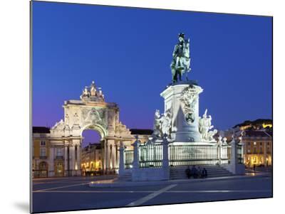 Praca Do Comercio with Equestrian Statue of Dom Jose and Arco Da Rua Augusta, Lisbon, Portugal-Stuart Black-Mounted Photographic Print