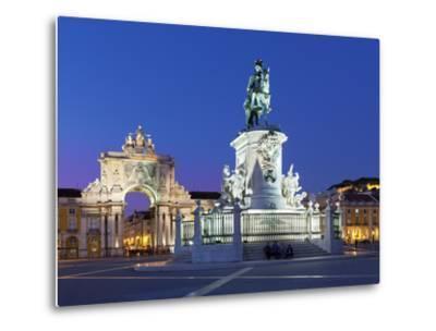 Praca Do Comercio with Equestrian Statue of Dom Jose and Arco Da Rua Augusta, Lisbon, Portugal-Stuart Black-Metal Print