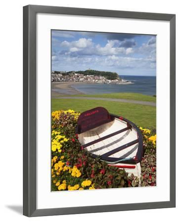 Rowing Boat and Flower Display, South Cliff Gardens, Scarborough, North Yorkshire, England-Mark Sunderland-Framed Photographic Print