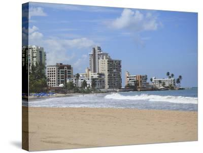Beach, Isla Verde, San Juan, Puerto Rico, West Indies, Caribbean, USA, Central America-Wendy Connett-Stretched Canvas Print