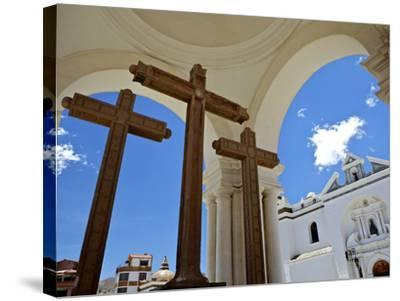 Basilica of Our Lady of Copacabana on the Shores of Lake Titicaca, Bolivia, South America-Simon Montgomery-Stretched Canvas Print