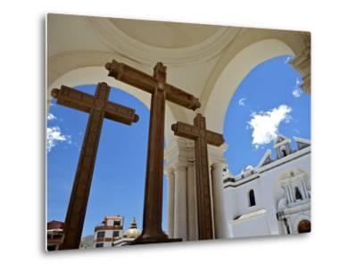 Basilica of Our Lady of Copacabana on the Shores of Lake Titicaca, Bolivia, South America-Simon Montgomery-Metal Print