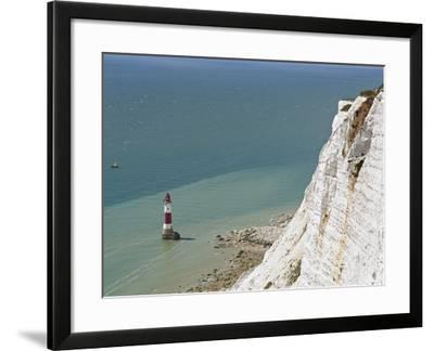 Beach Head Lighthouse, Near Eastbourne, East Sussex, England, United Kingdom, Europe-Matthew Frost-Framed Photographic Print