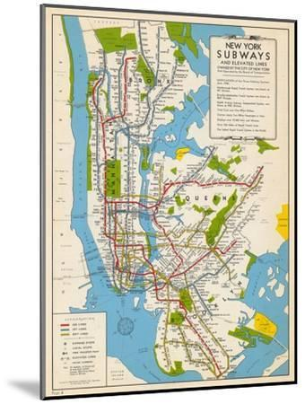 1949, New York Subway Map, New York, United States--Mounted Giclee Print