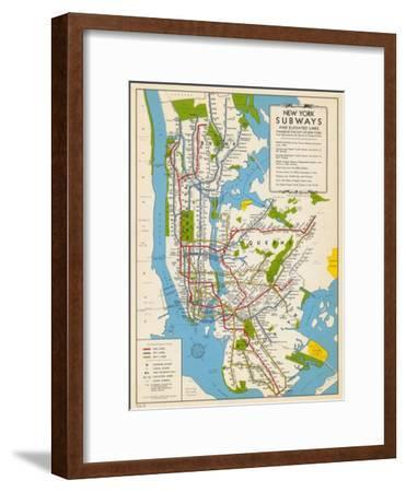 1949, New York Subway Map, New York, United States--Framed Giclee Print