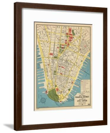 1949, Financial District and Manhattan Civic Center, New York, United States--Framed Premium Giclee Print