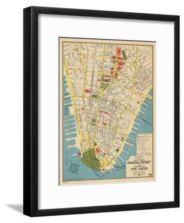 1949, Financial District and Manhattan Civic Center, New York, United States--Framed Giclee Print