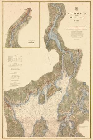 1882, Penobscot River, Belfast Bay Chart 1882, Maine, United States--Stretched Canvas Print